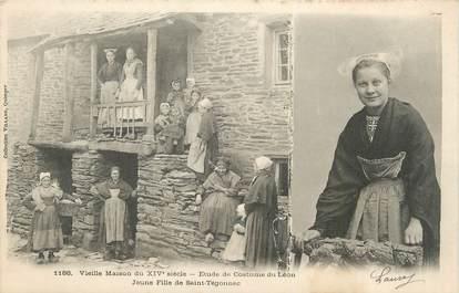 """CPA FRANCE 29 """"St Thégonnec, Jeune fille, Vieille maison du XIVème siècle, Etude de costume de Léon"""". / FOLKLORE"""