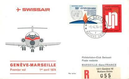 """LETTRE 1 ER VOL / ONU """"Genève / Marseille, 1er avril 1974"""""""