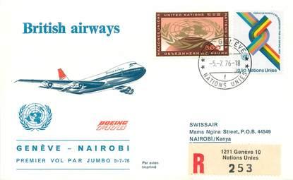 """LETTRE 1 ER VOL / ONU """"Genève / Nairobi, 5 juillet 1976"""""""