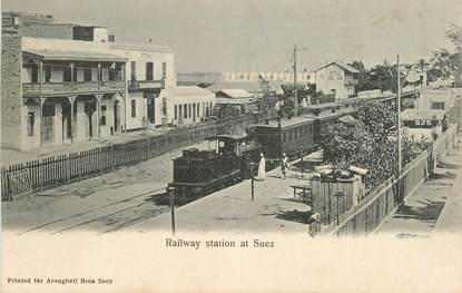 "CPA EGYPTE "" Railway station à Suez"" / TRAIN"
