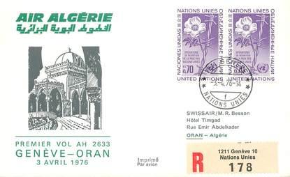 "LETTRE 1 ER VOL / ONU ""Genève / Oran, 3 avril 1976"""
