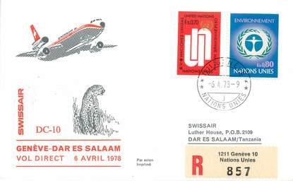 """LETTRE 1 ER VOL / ONU """"Genève / Dar es Salaam, 6 avril 1978"""""""