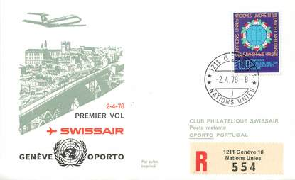 """LETTRE 1 ER VOL / ONU """"Genève / Oporto, 2 avril 1978"""""""