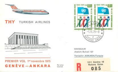 "LETTRE 1 ER VOL / ONU ""Genève / Ankara, 1er novembre 1975"""