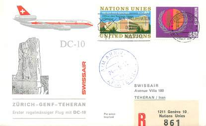 "LETTRE 1 ER VOL / ONU ""Zürich / Genf / Téhéran, 24 mai 1975"""