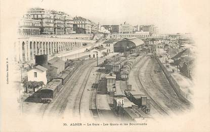 """CPA ALGERIE """"Alger, la gare, les quais et les boulevards"""""""