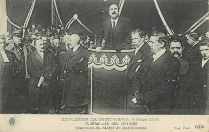 """CPA FRANCE 93 """" St Denis, Explosion de 1916, Funérailles des victimes""""."""