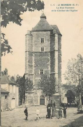 """CPA FRANCE 64 """" Monein, La rue Florence et le clocher de l'église""""."""