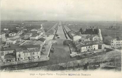 """CPA FRANCE 30 """" Aigues Mortes, Perspective du canal de Beaucaire""""."""