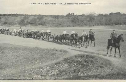 """CPA FRANCE 30 """" Camp des Garrigues, Le retour des manoeuvres""""."""