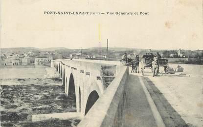 """CPA FRANCE 30 """"Pont St Esprit, Vue générale et pont""""."""