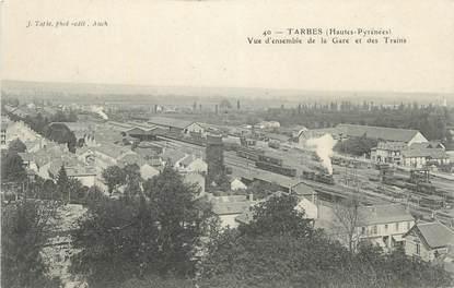 """CPA FRANCE 65 """" Tarbes, Vue d'ensemble de la gare et des trains""""."""