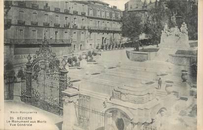 """CPA FRANCE 34 """" Béziers, Le monument aux morts""""."""