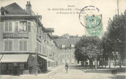 """CPA FRANCE 25 """" Montbéliard, Place de l'Enclos et kiosque de la musique""""."""