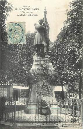 """CPA FRANCE 25 """" Montbéliard, Statue de Denfert Rochereau""""."""