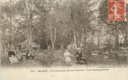 """CPA FRANCE 30 """" Alès, Promenade de la prairie, Les guinguettes""""."""