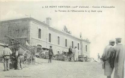 """CPA FRANCE 84 """" Le Mont Ventoux, Courses d'automobiles, La terrasse de l'observatoire""""."""