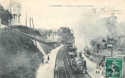 "CPA FRANCE 92 ""Suresnes, la Gare, Ligne de Versailles"" / TRAIN"