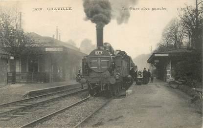 """CPA FRANCE 92 """"Chaville, la gare rive gauche"""" / TRAIN"""