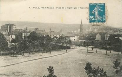 """CPA FRANCE 57 """" Moyeuse Grande, Place de la République et panorama""""."""