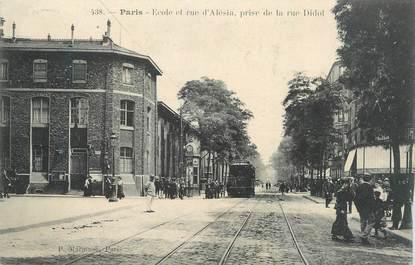 """CPA FRANCE 75 """"Paris 14ème, Ecole et rue d'Alésia''."""
