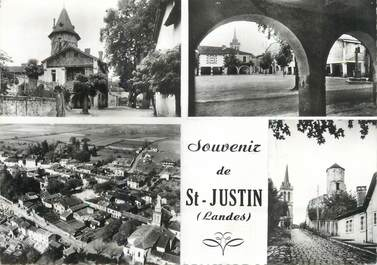 """CPSM FRANCE 40 """" St Justin, Vues""""."""