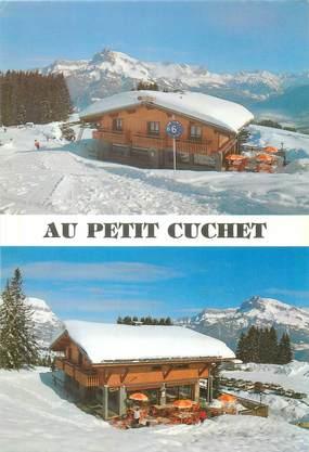 """CPSM FRANCE 74 """" Combloux, Bar restaurant Au Petit Cuchet""""."""