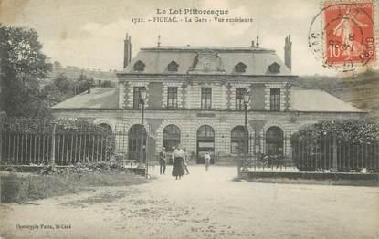 """CPA FRANCE 46 """" Figéac, La gare vue extérieure""""."""