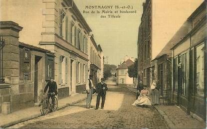 """CPA FRANCE 95 """"Montmagny, rue de la Mairie et bld des Tilleuls"""""""