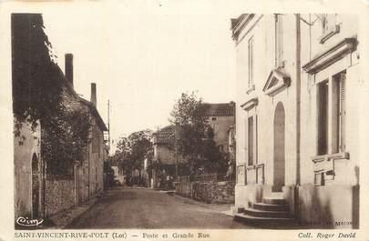 """CPA FRANCE 46 """"St Vincent Rive d'Olt, Poste et Grande Rue""""."""