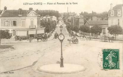 """CPA FRANCE 77 """"Lizy sur Ourcq, place et avenue de la gare"""""""