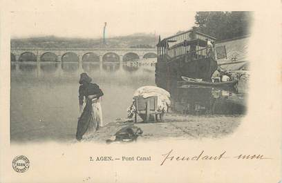 """CPA FRANCE 47 """"Agen, Pont canal""""."""