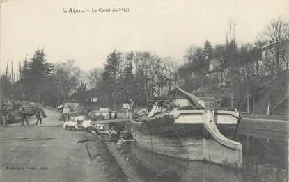 """CPA FRANCE 47 """"Agen, Le canal du midi"""". / PENICHE"""