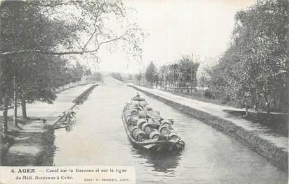 """CPA FRANCE 47 """"Agen, Canal sur la Garonne""""."""