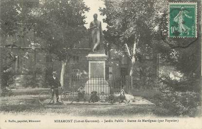 "CPA FRANCE 47 "" Miramont, Jardin public, statue de Martignac""."