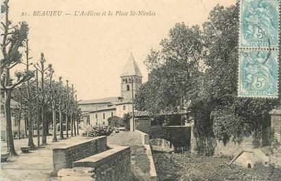 """CPA FRANCE 69 """"Beaujeu, l'Ardières et la Place Saint Nicolas"""""""