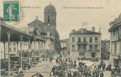 """CPA FRANCE 47 """" Marmande, L'Hôtel des Postes et le marché couvert""""."""