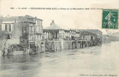 """CPA FRANCE 47 """" Villeneuve sur Lot, Crue du 15 décembre 1906""""."""