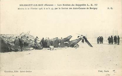 """CPA FRANCE 55 """"Brabant le Roi, Les Restes du Zeppelin"""""""