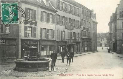 """CPA FRANCE 90 """" Belfort, Place de la grande fontaine """"."""