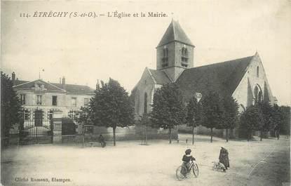 """CPA FRANCE 91 """"Etréchy, L'église et la Mairie""""."""