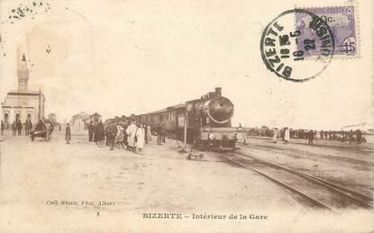 "CPA TUNISIE ""Bizerte, intérieur de la gare"" / TRAIN"