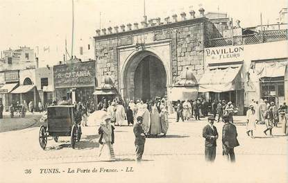 "CPA TUNISIE ""Tunis, la Porte de France"""