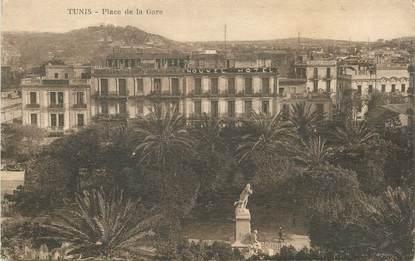 """CPA TUNISIE """"Tunis, la place de la Gare"""""""