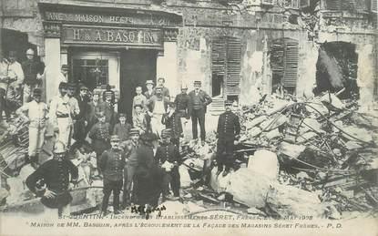 """CPA  FRANCE 02 """"Saint Quentin, incendie des Etablissements Séret Frères 1908"""" / POMPIER"""