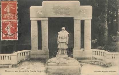 """CPA FRANCE 89 """" Avallon, Monument aux morts"""". / CACHET AMBULANT"""