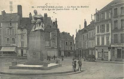 """CPA FRANCE 45 """" Pithiviers, La Place du Martroi et la Rue des Quatre Vents""""."""