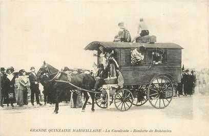 """CPA FRANCE 13 """" Marseille, Grande quinzaine Marseillaise, la Cavalcade, Roulotte Robinson"""". / GITAN"""