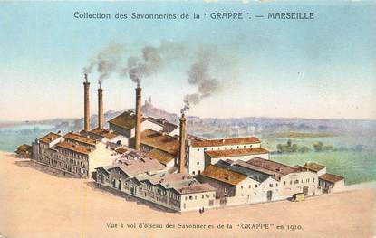 """CPA FRANCE 13 """" Marseille, Les Savonneries de la Grappe en 1910""""."""
