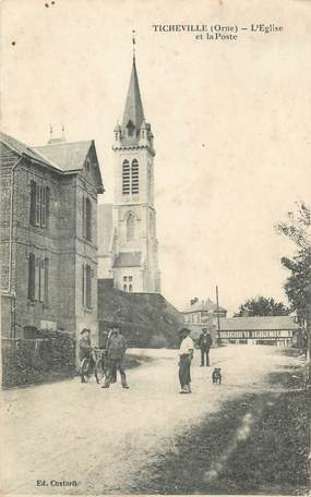 """CPA FRANCE 61 """"Ticheville, L'église et la Poste""""."""